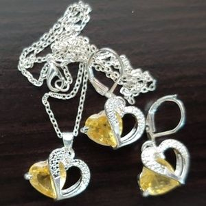 """Jewelry - CITRINE ~ 925 STAMPED STERLING SILVER ~ 20"""" CHAIN"""
